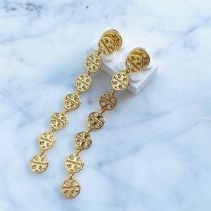 New Tory Burch gold logo earrings